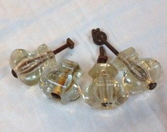 Vintage 1940s Set of 4 Glass Knobs/ Drawer Pulls