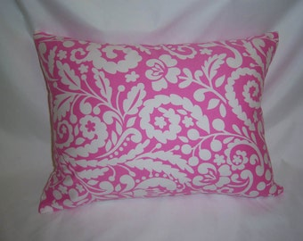 "One Pink and White Print  Pillow Cover  14"" x 18"""