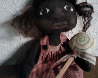 Primitive Black Folk Art Doll Set - Lollypop Ornie