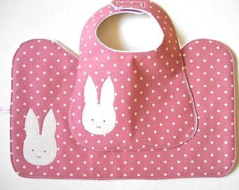 Contoured Burp Cloth and Bib Baby Girl Gift Set Bunny on Pink Polka Dot Cotton, 100% Cotton Dotty Fabric and White Polar Fleece Lining