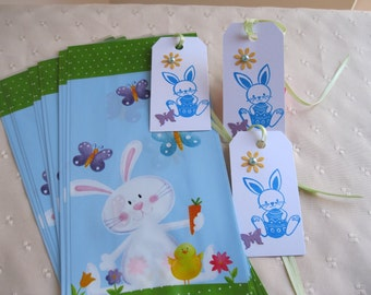 10 Easter Treat Bags With Tags - Easter Favor Bags,Kids Easter Bags,Easter Gift Tags,Bunny Treat Bags,Bunny Gift Tags,Easter Party