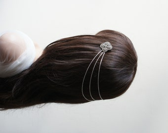 Silver Wedding Headpiece -  Bridal Hair Jewellery with drapes - Chain Headpiece - UK
