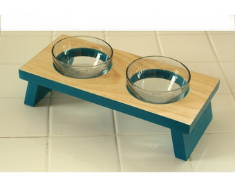 Designer pet food bowl small dog or cat food and water dish glass bowl elevated