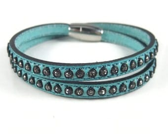 Studded Turquoise Leather Bracelet, Rhinestone Cuff Bracelet, Leather Wrap Bracelet, Studded Cuff, Womens Leather Jewelry, Turquoise Leather