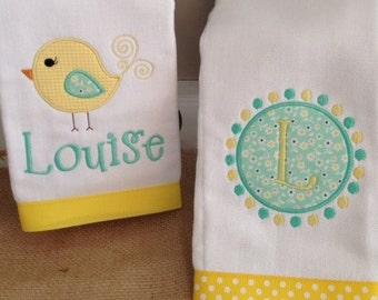 Bird Burp Cloth, Monogrammed Burp Cloth, Personalized Burp Cloth, Girl Burp, Burp Cloths