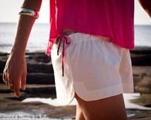 Organic Cotton Mini Beach Shorts, 100% Cotton, Women's Handmade Summer Beach Shorts
