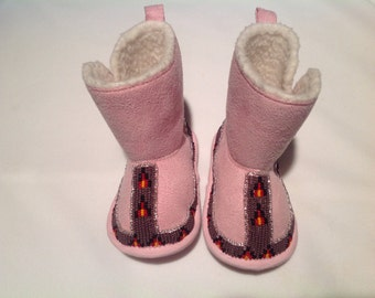 Native American Beaded Baby Moccasin Booties - Purple