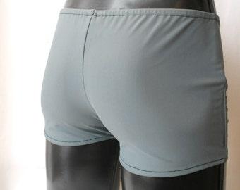 Mens Lycra Low Rise Hotpants/Shorts XL X-Large 38-42 inch Matte Grey Spandex Club/Dance/Festival/Swim Theatre Stretch Sports Gym