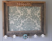 Jewelry Organizer Frame Rustic Barn Wood Holder Teal Damask Fabric Fleur De' Lis Shabby