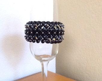 Items similar to CobaltBLUE cuff bracelet handcrocheted ...  Swaneptune
