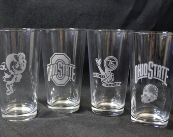 Ohio State Pint Glasses - Officially Licensed Ohio State Football Pint glasses Set of 4
