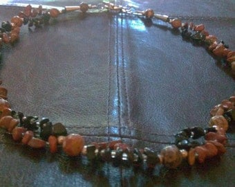 harlequin: stone bead necklace featuring leopard jasper & pewter beads, jasper chips