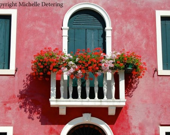 Italian Red - Digital Photography, Window Photography, Balcony with Flowers, Rustic Window, Italy Photography, Burano Door Photography, Red