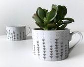 DARK GREY Hand Painted Mug / Planter - Dark GRAY with Botanical Pattern - Original Art - Minimalist Modern Design