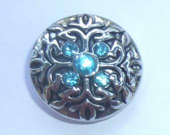 1 PC Aqua Rhinestone Antique Silver Chunk Snap It Charm ~ Interchangable
