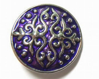 1 PC Purple Enamel Flourish Flowers Antique Silver NOOSA Chunk Snap It Charm ~ Interchangable