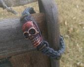 Men's Hemp Bracelet, Brown Skull, Grey Hemp, Men's Jewelry, Valentine's Gift for Him, Rugged, Free Shipping in USA