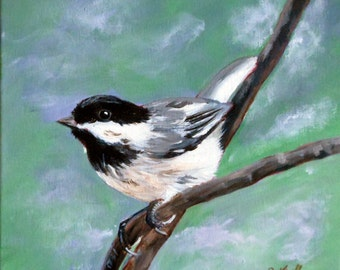 Original Art Painting, Acrylic Painting, Chickadee Painting 10x10x1/2 inch