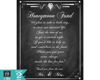 Honeymoon Fund Printable Sign - DIY Instant Download -  Rustic Heart Collection Version 2 - wedding signs - wedding instant download