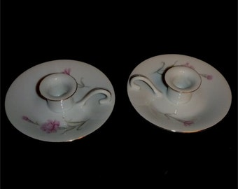 2 beautiful candle holders in Royal Court China's  Carnation pattern