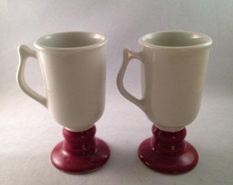 Pair of Hall Pedestal Irish Coffee Mugs White with Red Brick Base Set of 2