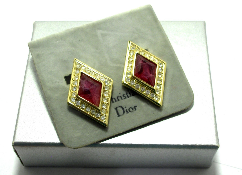 Bijoux Vintage Dior : Vintage christian dior earrings bijoux ruby