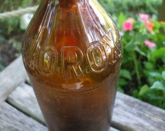 Vintage Amber/Brown Glass Clorox Bottle with Lid/Collectible