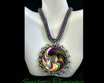 Mardi Gras turbine pendant with matching chain