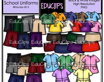 Dress Me ~ School Uniforms Clip Art Bundle