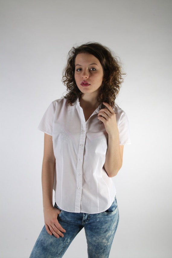Women 39 S White Short Sleeve Button Up Blouse Collar Blouses