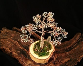 Tree of life, Twisted Wire Tree, wire wrapped, Sculpture, Quartz Crystal