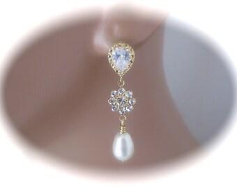 Gold Crystal Earrings Bridal Wedding jewelry Swarovski Crystal Wedding Earrings Bridal Jewelry Gold Pearl drop Earrings