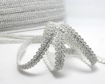 3 Yards 3/8 Inch Silver Glittery Gimp Braided Trim 4 Colors French Gimp Braided Scroll Braid Trim Decorative Embellishment Trim 