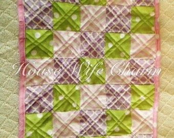 Pink Purple Green Doll Patchwork Quilt- Ready to ship!