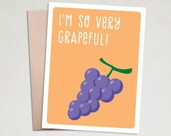 Thank you cards- Thank you card funny- Thank you gift- Note cards- Thank you card set- Cards and gifts-Handmade Greeting Card-Very Grapeful