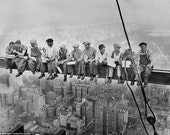 Men On Beam Lunch Atop a Skyscraper Black And White Photo Art Print WIth Stretched Canvas Option