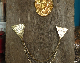 FEMME collar chains, with hand-stamped brass triangles