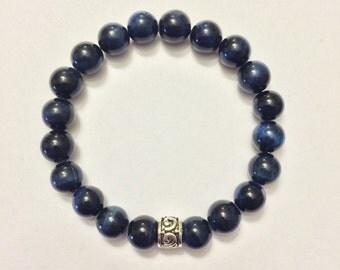 Beautiful Blue Tiger Eye Bracelet w/ Sterling Silver Charm