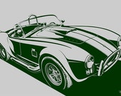 Shelby Cobra. Custom Colors - Light Gray Background / Hunter Green Design