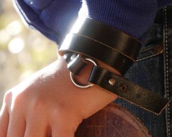 Unisex Leather Bracelet - Black Leather Wristband - Handmade Bracelet - For Him - For Her