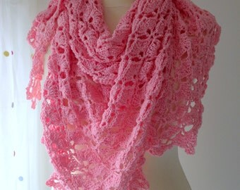 crocheted pink shawl