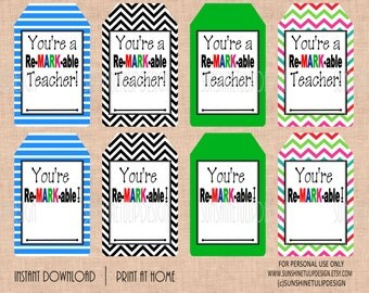 Teacher Appreciation You are ReMARKable Gift Tags by SUNSHINETULIPDESIGN