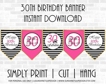 30th Birthday Banner Black and Hot Pink by SUNSHINETULIPDESIGN