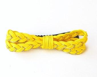 Mizuhiki hair clip, Japanese washi cord Yellow hair Clip, Japanese hair clip,  hair accessory, ribbon, FREE SHIPPING