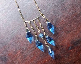 Vintage 1920s blue crystal teardrop necklace with silver and gold tarnished chain