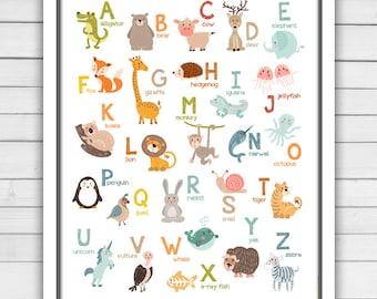 Alphabet wall art - Alphabet animals - Alphabet art - Alphabet poster - Alphabet wall decal - ABC poster - Nursery decor - Digital Pdf