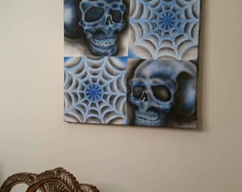 Blue skull spider web original art