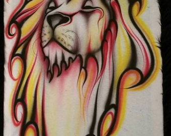 Red yellow black lion art