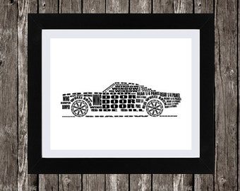 Ford Mustang Art, Fastback Ford Mustang, Classic Car, Ford Mustang Decor, Digital Download, Typography, 14 x 11""