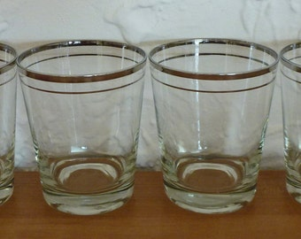 Vintage Set of 4 Atomic Eames Era Mid Century Modern Silver Tone Double Old Fashioned Stripe Edge Bar Ware Barware Tumblers Glasses